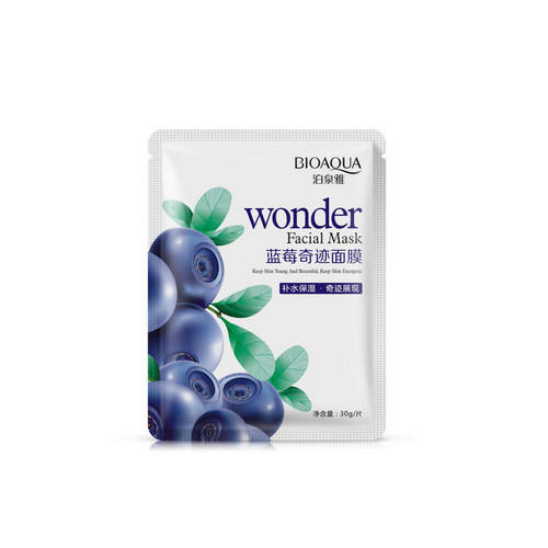 Увлажняющая маска с экстрактом черники Wonder 30 грамм (Bioaqua, Маски) frudia blueberry hydrating natural maintains moisture увлажняющая тканевая маска для лица с экстрактом черники 27 мл