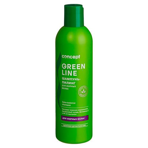 Фото - Concept Шампунь-пилинг для жирных волос Sebo-balance shampoo, 300 мл (Concept, Green Line) concept восстанавливающее масло двойное действие 10 10 мл concept green line