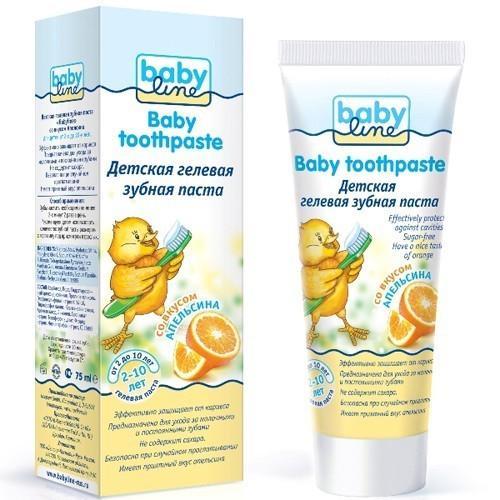 Детская зубная паста гелевая со вкусом апельсина, 210 лет, 75 мл (Baby line, Уход за зубками) babyline baby toothpaste зубная паста детская со вкусом апельсина 75 мл