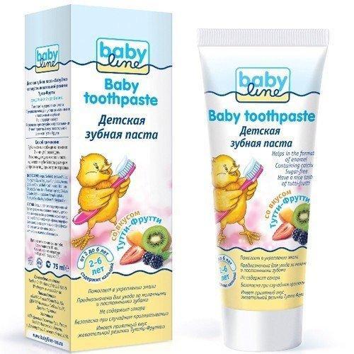 Детская зубная паста со вкусом ТуттиФрутти, 26 лет, 75 мл (Baby line, Уход за зубками) babyline baby toothpaste зубная паста детская со вкусом апельсина 75 мл