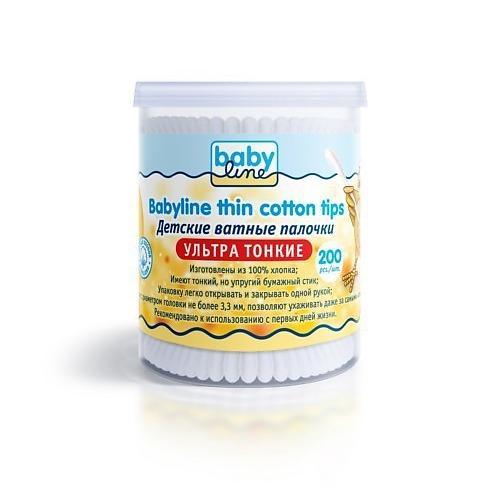 Детские ватные палочки ультра тонкие в пластиковом боксе, 200 шт (Вата) (Baby line)