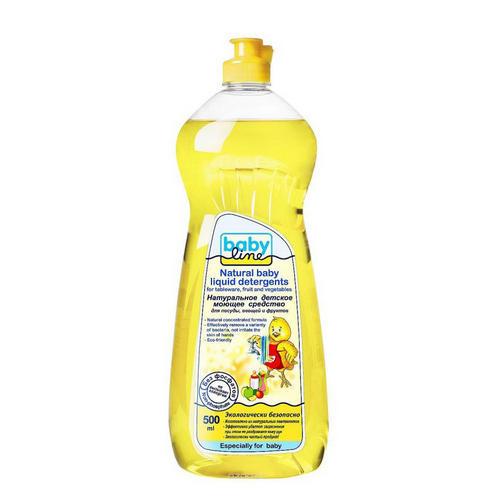 Натуральное детское моющее средство для посуды, овощей и фруктов, 500 мл. (Baby line, Для посуды) цены онлайн