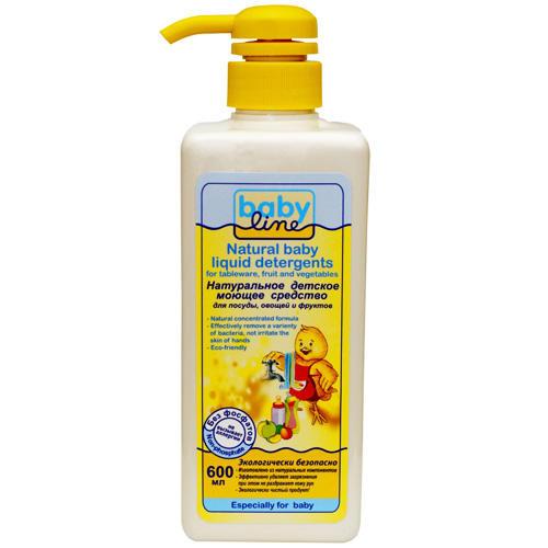 Натуральное детское моющее средство для посуды, овощей и фруктов, с дозатором, 600 мл (Baby line, Безопасная детская бытовая химия)