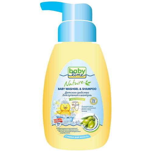 Купить со скидкой Baby line Средство для купания и шампунь с маслом оливы для детей с первых дней жизни с дозатором 25