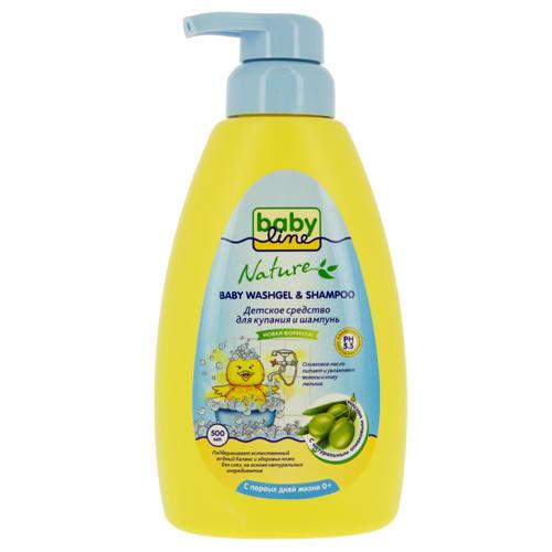 Средство для купания и шампунь с маслом оливы для детей с первых дней жизни с дозатором, 500 мл (Baby line, Уход за волосами)