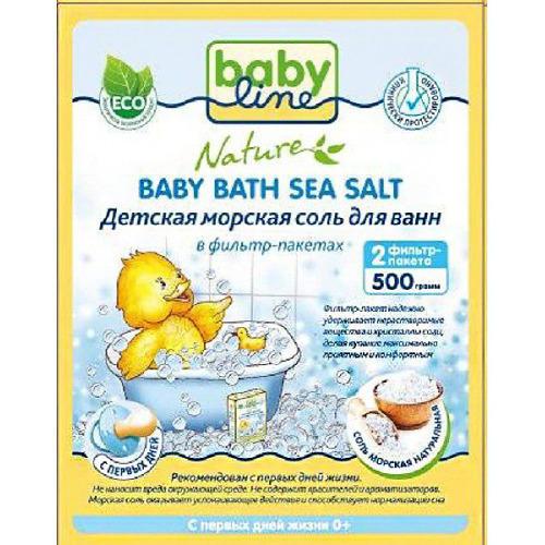 Детская морская соль для ванн Натуральная в фильтрпакетах, 500 г (Baby line, Соли для ванн)