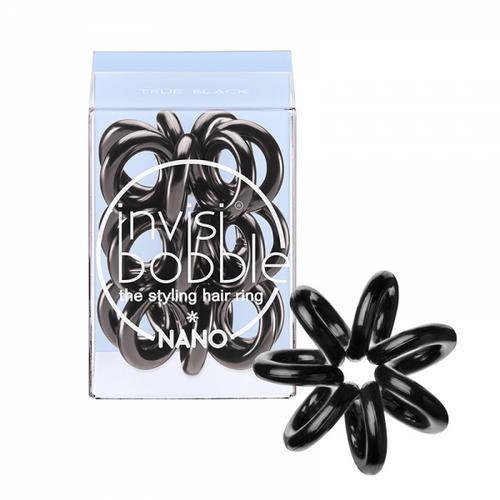 все цены на Резинка для волос True Black (с подвесом) черный 3 шт. (Invisibobble, Nano) онлайн