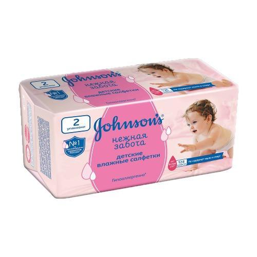 Johnsons baby Влажные салфетки Нежная забота 2*64 шт (Для новорожденных)