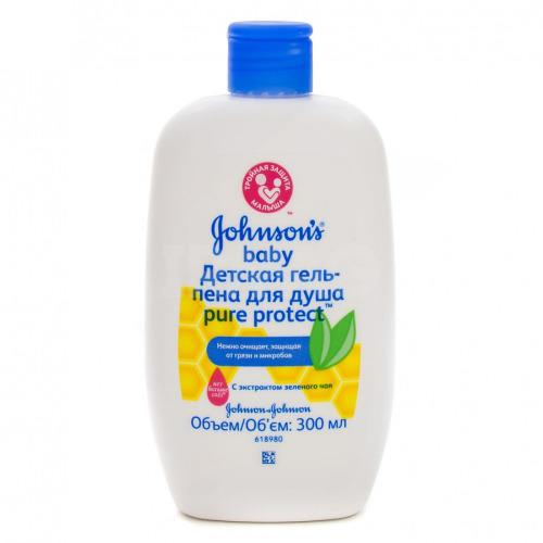 Детская гельпена для душа антибактериальная 300 мл (Johnsons baby, Pure Protect) гели и пенки johnson s baby pure protect для душа 300 мл