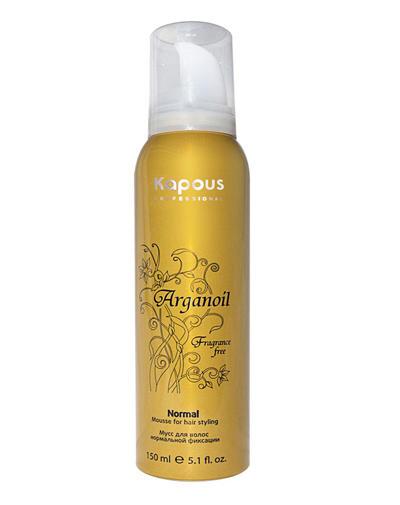 Мусс аэрозольный для волос нормальной фиксации с маслом арганы 150 мл (Kapous Professional, Средства для укладки) kapous magic keratin мусс для укладки волос нормальной фиксации с кератином 150 мл