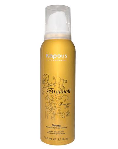 Мусс аэрозольный для волос сильной фиксации  маслом арганы 150 мл (Kapous Professional, Средства  укладки)