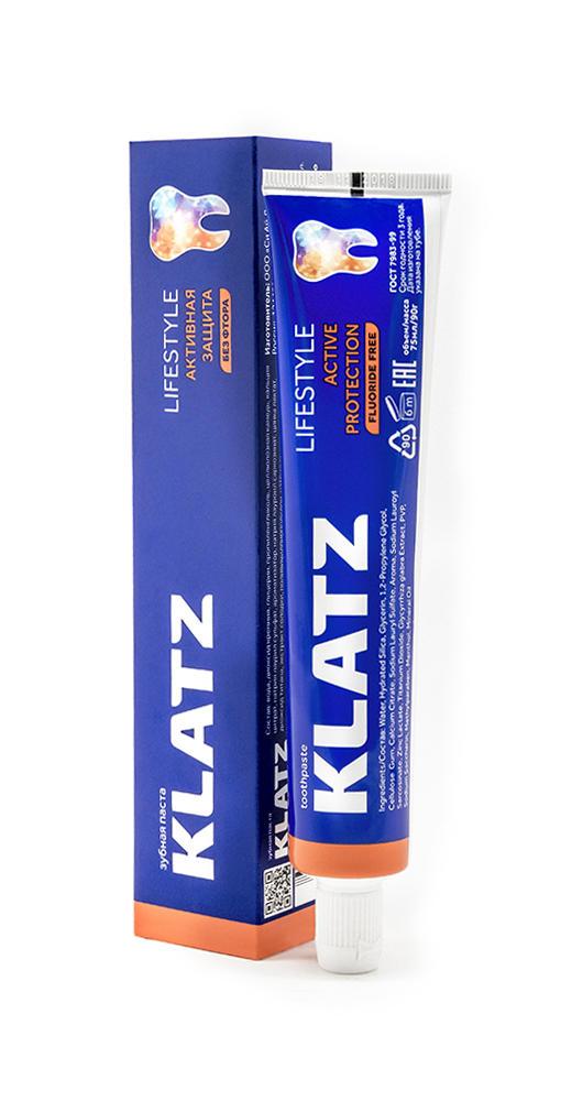 Купить Klatz Зубная паста Активная защита без фтора 75 мл (Klatz, Lifestyle), Россия