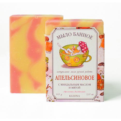 Мыло твердое Апельсиновое, 145 мл (Kleona, Для душа, ванной и SPAпроцедур) kleona мыло твердое молочное 145 мл