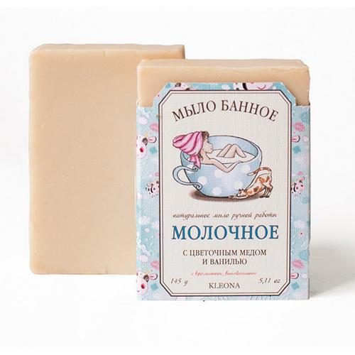 Мыло твердое Молочное, 145 мл (Kleona, Для душа, ванной и SPAпроцедур) kleona мыло твердое молочное 145 мл