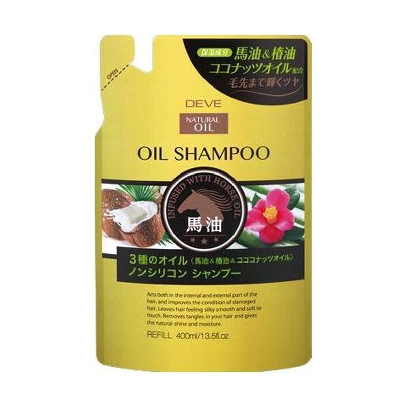 Kumano cosmetics Шампунь д/сухих волос с 3 видами масел (лошадиное, кокосовое и масло камелии) Deve 400мл зап (Kumano cosmetics, Шампуни для волос)