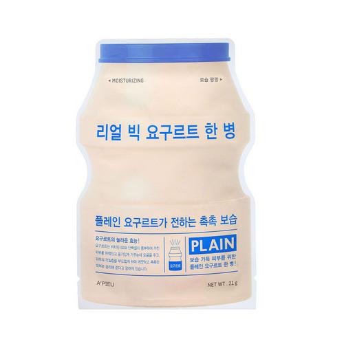 Маска для лица тканевая йогуртная Real Big Yogurt One Bottle Plein 21 г (Apieu, Для лица) frudia blueberry hydrating natural maintains moisture увлажняющая тканевая маска для лица с экстрактом черники 27 мл