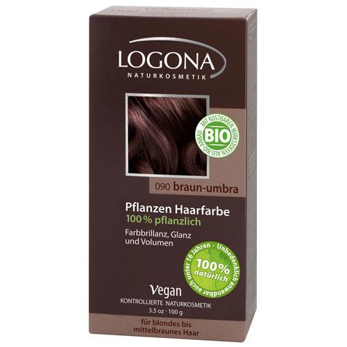 Растительная краска для волос 090 Умбра темнокоричневыйЙ 100г (Logona, Color hair) logona powder naturel brown краска растительная для волос тон 080 натурально коричневый 100 г