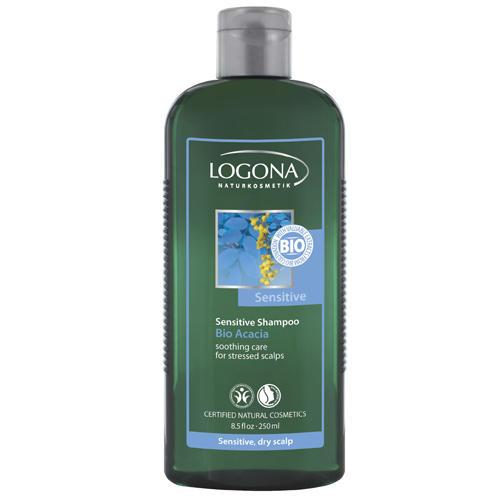 Шампунь с биоакацией для чувствительной кожи головы 250 мл (Logona, For hair) очищающее средство 3 в 1 с био алоэ и био дамасской розой logona