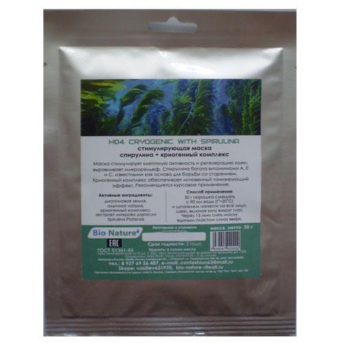 Bio nature riteail Стимулирующая альгинатная маска спирулина + криогенный комплекс 30 г (Маска)