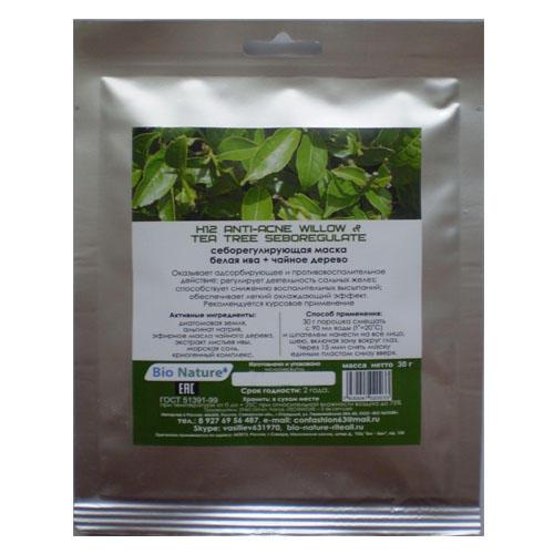Bio nature riteail Себорегулирующая альгинатная маска белая ива + чайное дерево 30 г (Маска)