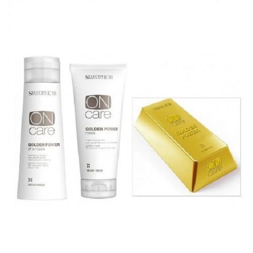 Selective Набор золотистый шампунь и маска для натуральных или окрашенных волос теплых светлых тонов 250 мл + 200 мл (Selective, Golden Power)