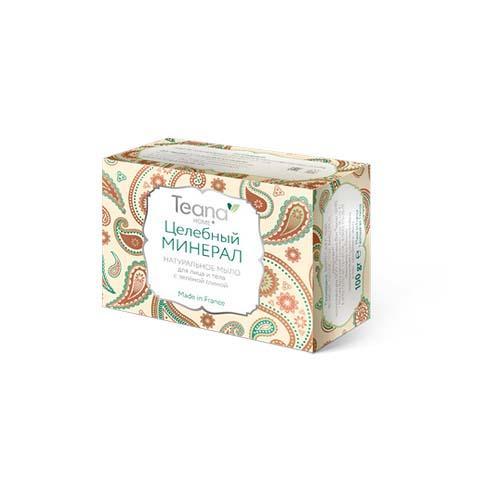 Teana Целебный минерал Натуральное мыло для жирной и проблемной кожи лица и тела с зелёной глиной 100 гр (Teana, Натуральное мыло ручной работы)