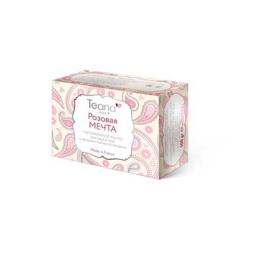 Teana Розовая мечта Натуральное мыло для жирной и проблемной кожи лица и тела с эфирным маслом розмарина 1 (Натуральное мыло ручной работы)