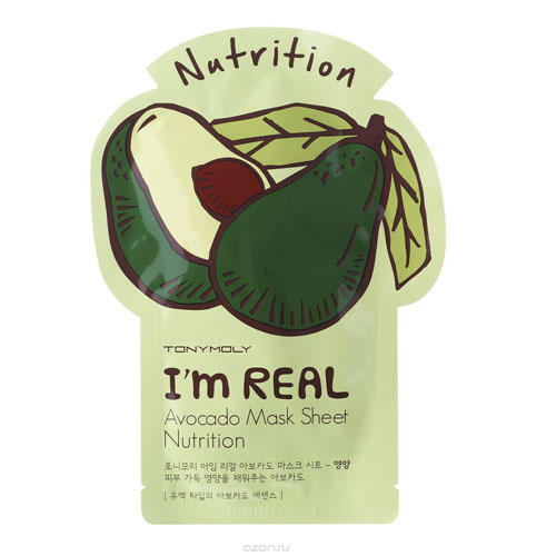 Tony Moly Одноразовая питательная маска с экстрактом авокадо 21 мл (I am real)