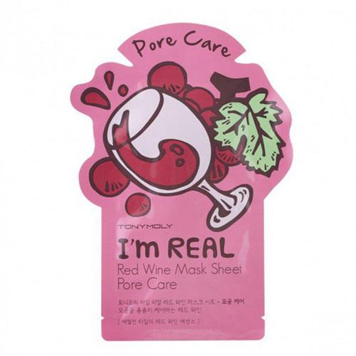Одноразовая маска для лица с экстрактом красного вина 21 мл (Tony Moly, I am real) tony moly набор тканевых масок сужающая поры i am real красное вино 3шт 21 мл