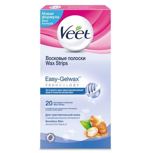 Восковые полоски для чувствительной кожи c технологией Easy Gelwax 20 шт (Veet, Easy Gelwax) восковые полоски для чувствительной кожи ромашка floresan 20 шт