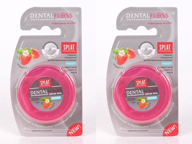 Купить Splat Набор Объемная вощеная зубная нить Клубника 30 м*2 штуки (Splat, Зубная нить), Россия