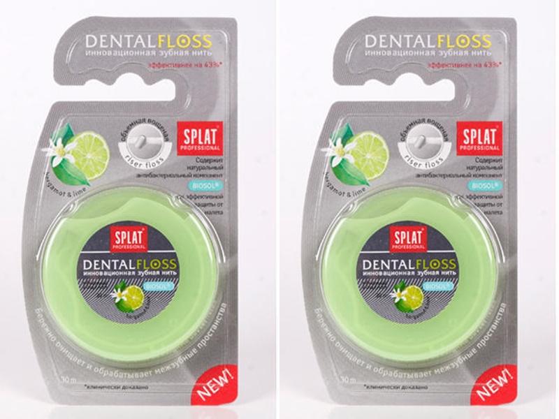 Splat Набор Объемная вощеная зубная нить Бергамот и лайм 30 м*2 штуки (Splat, Зубная нить)