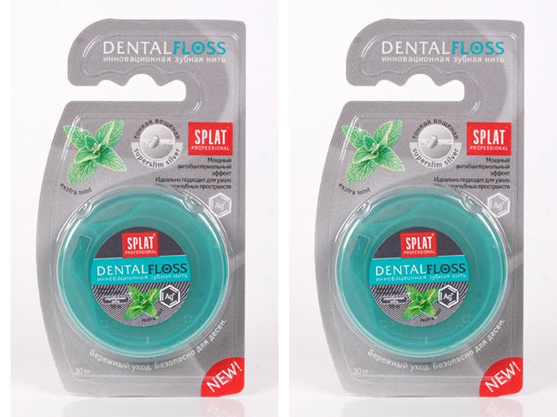 Купить Splat Набор Супертонкая зубная нить Волокна серебра 30 м*2 штуки (Splat, Зубная нить), Россия