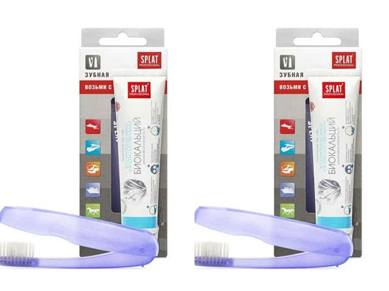 Купить Splat Набор Дорожный набор: Зубная паста Биокальций 40 мл + Складная щетка*2 штуки (Splat, Travel), Россия