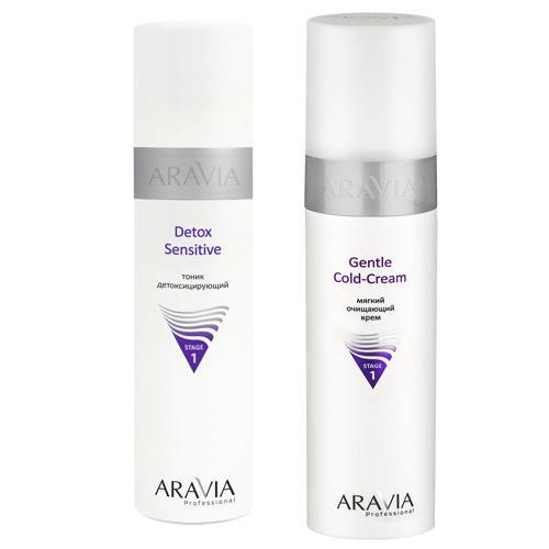 Aravia professional Комплект Мягкий очищающий крем Gentle Cold-Cream, 250 мл + Тоник детоксицирующий Detox Sensitive, 25 (Aravia professional, Уход за лицом)