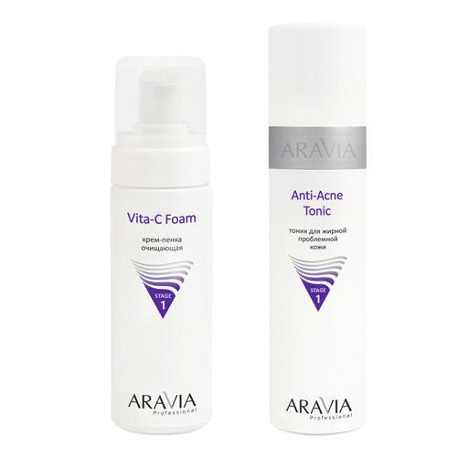 Купить Aravia professional Комплект Тоник для жирной проблемной кожи Anti-Acne Tonic, 250 мл + Крем-пенка очищающая Vita-C Foam (Aravia professional, Уход за лицом), Россия