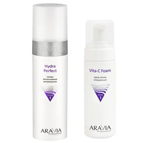 Aravia Professional Комплект Тоник интенсивное увлажнение Hydra Perfect, 250 мл + Крем-пенка очищающая Vita-C Foaming, 160 мл (Aravia Professional, Уход за лицом) недорого