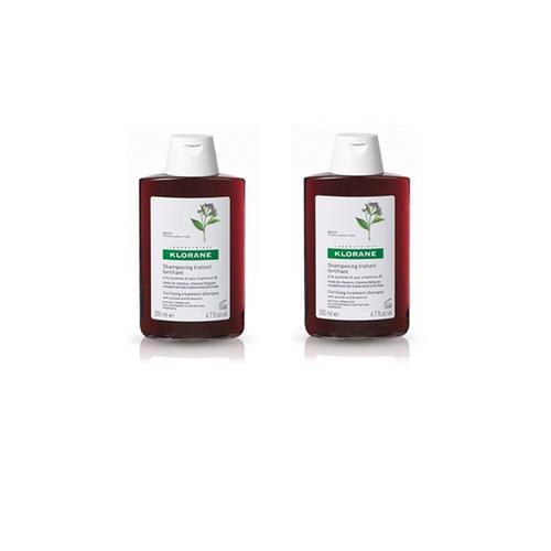 Klorane Комплект Шампунь с экстрактом хинина укрепляющий, 2х400 мл (Klorane, Thinning Hair) klorane шампунь с экстрактом хинина укрепляющий 200 мл