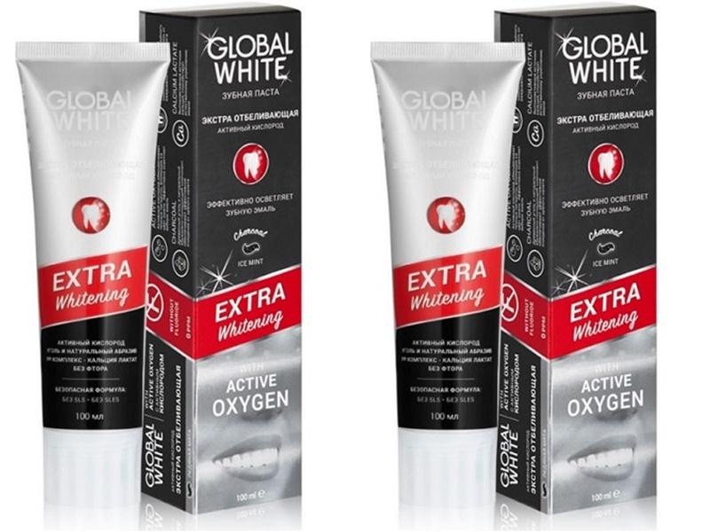 Global White Набор Зубная паста экстра отбеливающая 100 мл*2 штуки (Global White, Зубные пасты) недорого