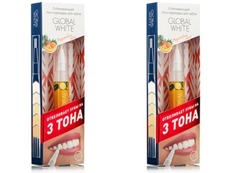 Купить Global white Набор Отбеливающий карандаш-апликатор со вкусом фруктов 5 мл*2 штуки (Global white, Отбеливающие системы), Италия