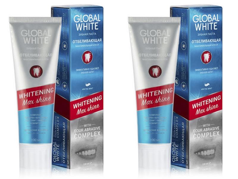 Купить Global white Набор Зубная паста Whitening Max Shine Отбеливающая 30 мл*2 штуки (Global white, Зубные пасты), Италия