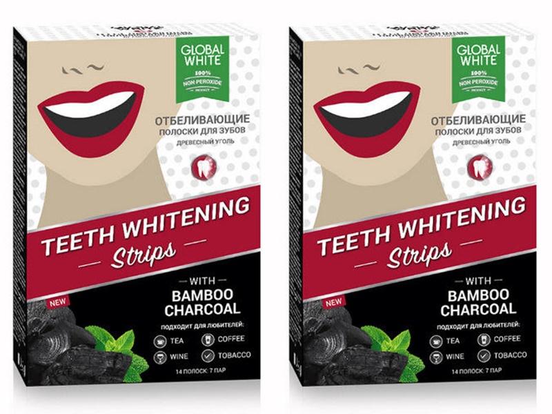Global white Набор Полоски для отбеливания зубов Древесный уголь 7 шт.*2 штуки (Global white, Отбеливающие системы) полоски для отбеливания зубов древесный уголь 7 дней teeth whitening 7 шт