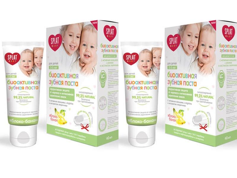 Купить Splat Набор Набор Baby 0-3 Зубная паста яблоко-банан 40 мл + щеточка напальчник*2 штуки (Splat, Baby), Россия