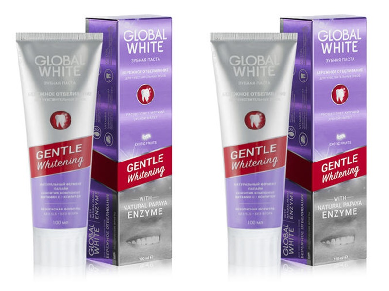 Купить Global white Набор Отбеливающая зубная паста для чувствительных зубов 100 мл*2 штуки (Global white, Зубные пасты), Италия