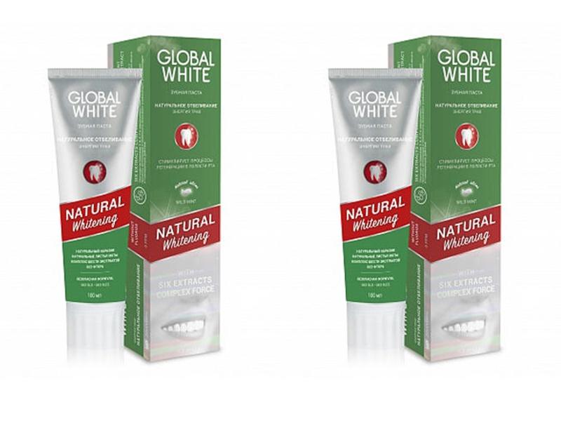 Купить Global white Набор Зубная паста Натуральное отбеливание, энергия трав 100 мл*2 штуки (Global white, Зубные пасты), Италия