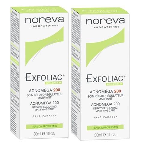 Noreva Комплект Эксфолиак Акномега 200 Крем для жирной, комбинированной кожи с акне средней степени тяжести 2х30 мл (Noreva, Exfoliac)