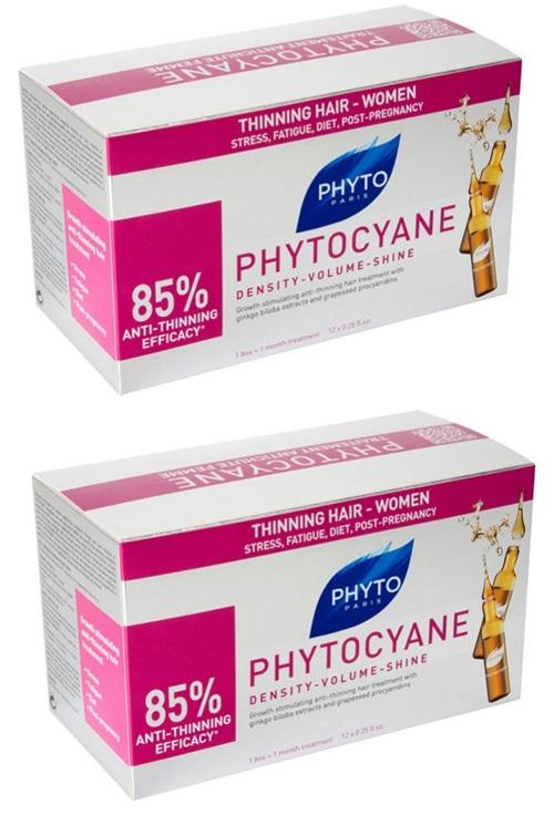 Phyto Комплект Фитоциан средство против выпадения и старения волос у женщин 2х12 ампул (Phyto, Средства волос)