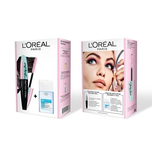 Набор Тушь для ресниц Мисс Бэби Ролл чернаяСредство для снятия макияжа с глаз 125 мл (LOreal, Наборы)