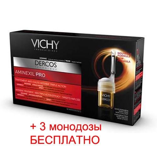 Интенсивное средство против выпадения волос для мужчин Аминексил Pro 18 ампул по цене 15 амп. (Vichy, Dercos Aminexil) аминексил виши для женщин цена