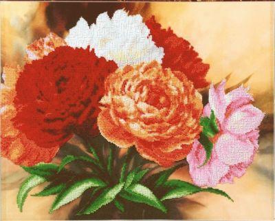 Б719 Пионы чм (Чарiвна Мить, Чарiвна Мить) канва с рисунком для вышивания бисером hobby